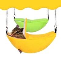 warm hamster hammock hanging bed house winter small animal squirrel guinea pig banana design plush cotton nest pet supplies