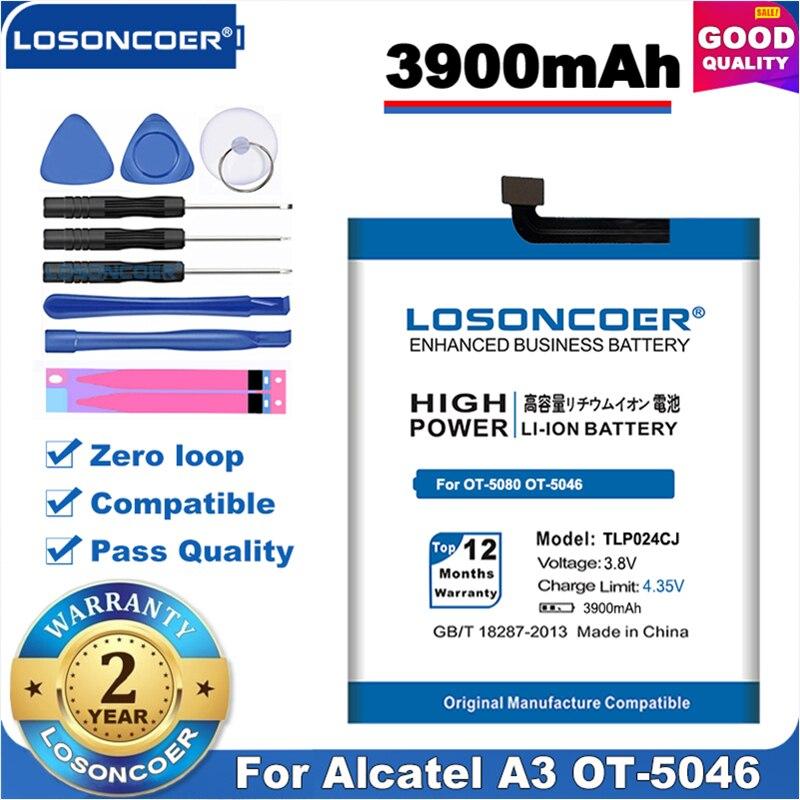 100% Original LOSONCOER TLP024C1 TLP024CJ TLP024CC Bateria Para Alcatel A3 OT-5046/Brilhar Lite OT-5080 5080X OT-5046D OT-5046Y