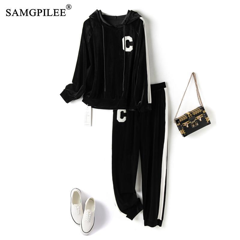 SAMGPILEE 2021 أزياء النساء رياضية طويلة الأكمام مقنعين فضفاضة الملابس 2 قطعة مجموعة الدعاوى السيدات عارضة المخملية Trackpants 4XL
