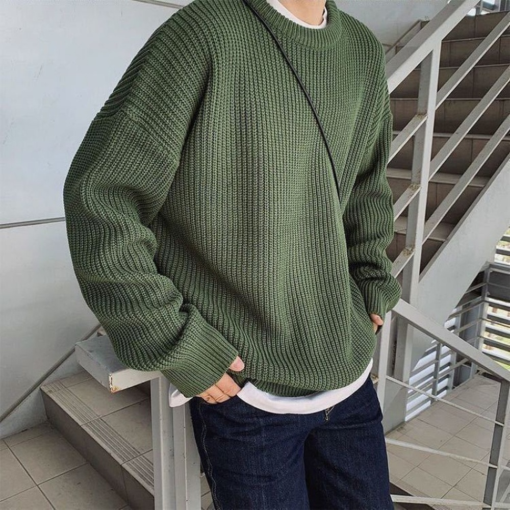 Korean Fashion Sweaters Men Autumn Solid Color Wool Sweaters Slim Fit Men Street Wear Mens Clothes Knitted Sweater Men Pullovers
