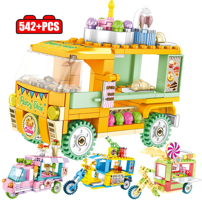 City Friends Series Street Scene Creative Ice Cream Car Building Blocks Truck Snack Stall Figures Bricks Toys for Children Gifts