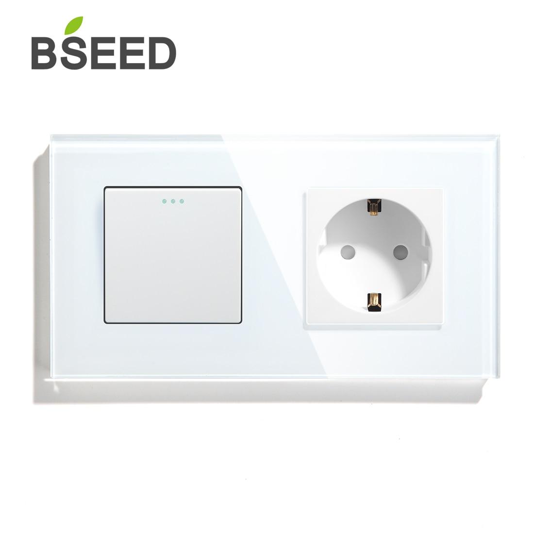 BSEED زر التبديل 1 عصابة 1 الطريق 2 طريقة الاتحاد الأوروبي القياسية مآخذ ومفاتيح مع 3 ألوان كريستال لوحة زجاج تحسين المنزل