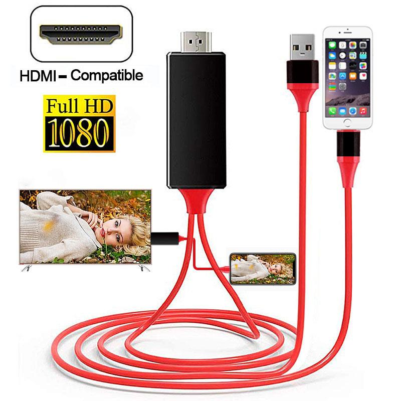1080P HDTV Cable TV Digital AV Adapter for lightning to HDMI-Compatible Cables for iphone 12 11 pro