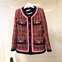 2020 autumn womens plaid tweed coat new arrival japanese style elegant women coat c380
