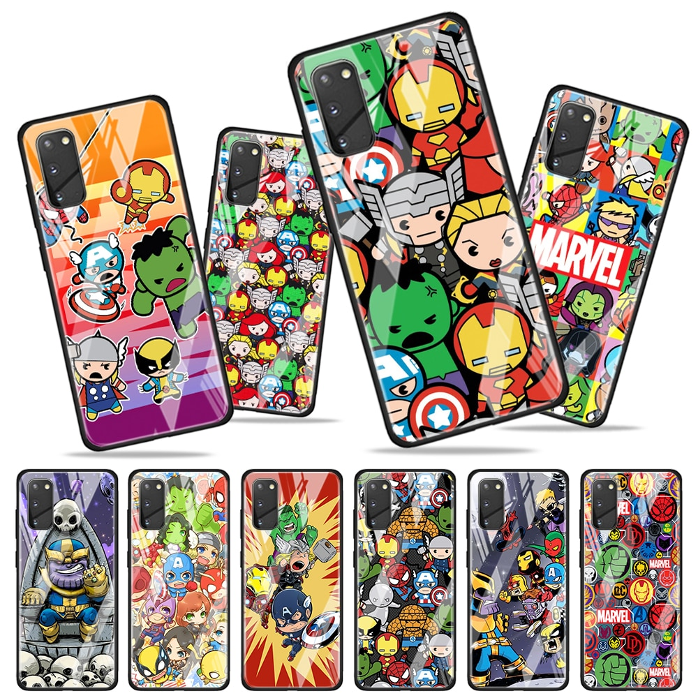 Marvel cartoon cute for Samsung Galaxy S20 FE Ultra Note 20 S10 Lite S9 S8 Plus Luxury Tempered Glas