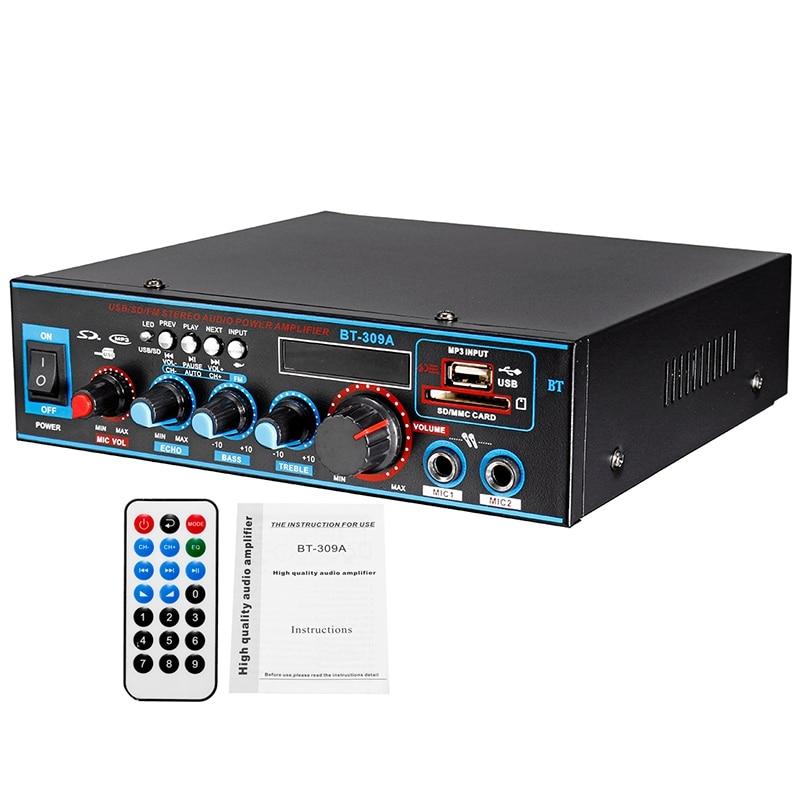 800W 12/220V HIFI 2CH amplificador de potencia o sistema de sonido de cine en casa o Mini amplificador Bluetooth FM tarjeta SD USB para coche en casa