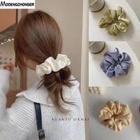 solid color scrunchies polyester material women big hair ties elastic hair bands gir ponytail holder headwear hair accessories
