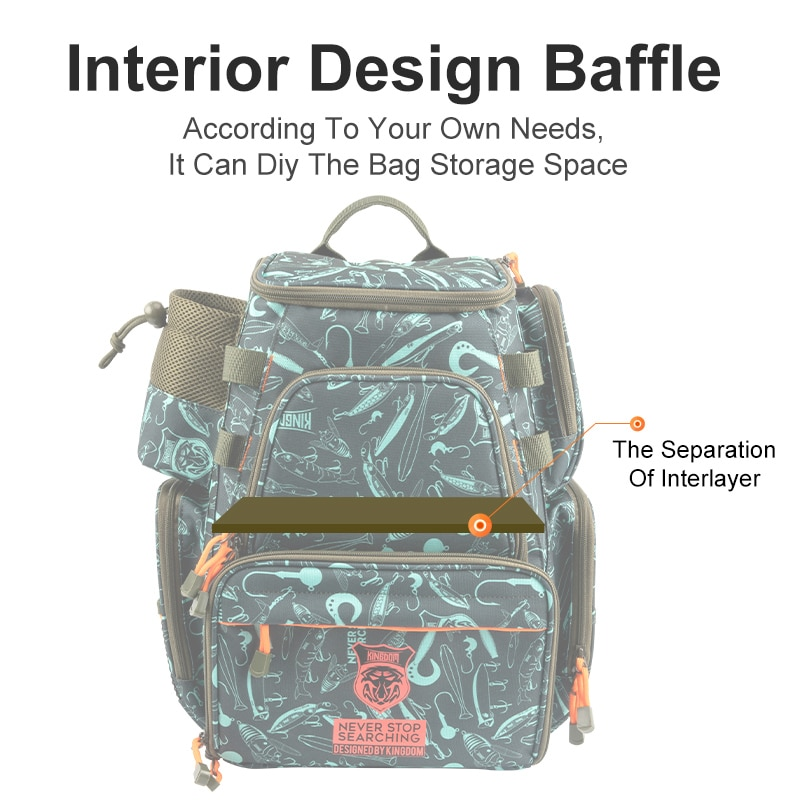 Kingdom Fishing Bags Tackle Reel Lures Storage Box 1250g Large Capacity Multifunctional Fishing Backpack Waterproof Accessories enlarge