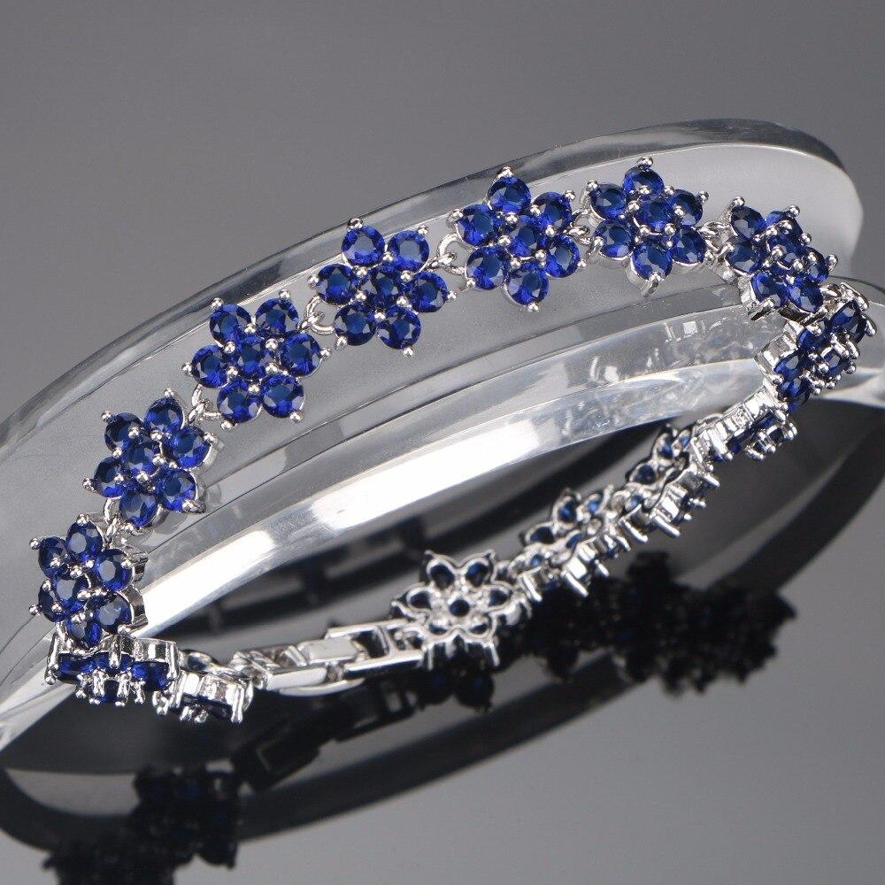 Pulsera de abalorios de señoras de Plata de Ley 925 para mujer, decoración de boda azul/verde/Púrpura/Zirconia blanca, caja de regalo gratis