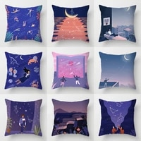 cartoon starry sky decorative pillow case blue purple covers for cushions living room decoration romantic valentines day gift