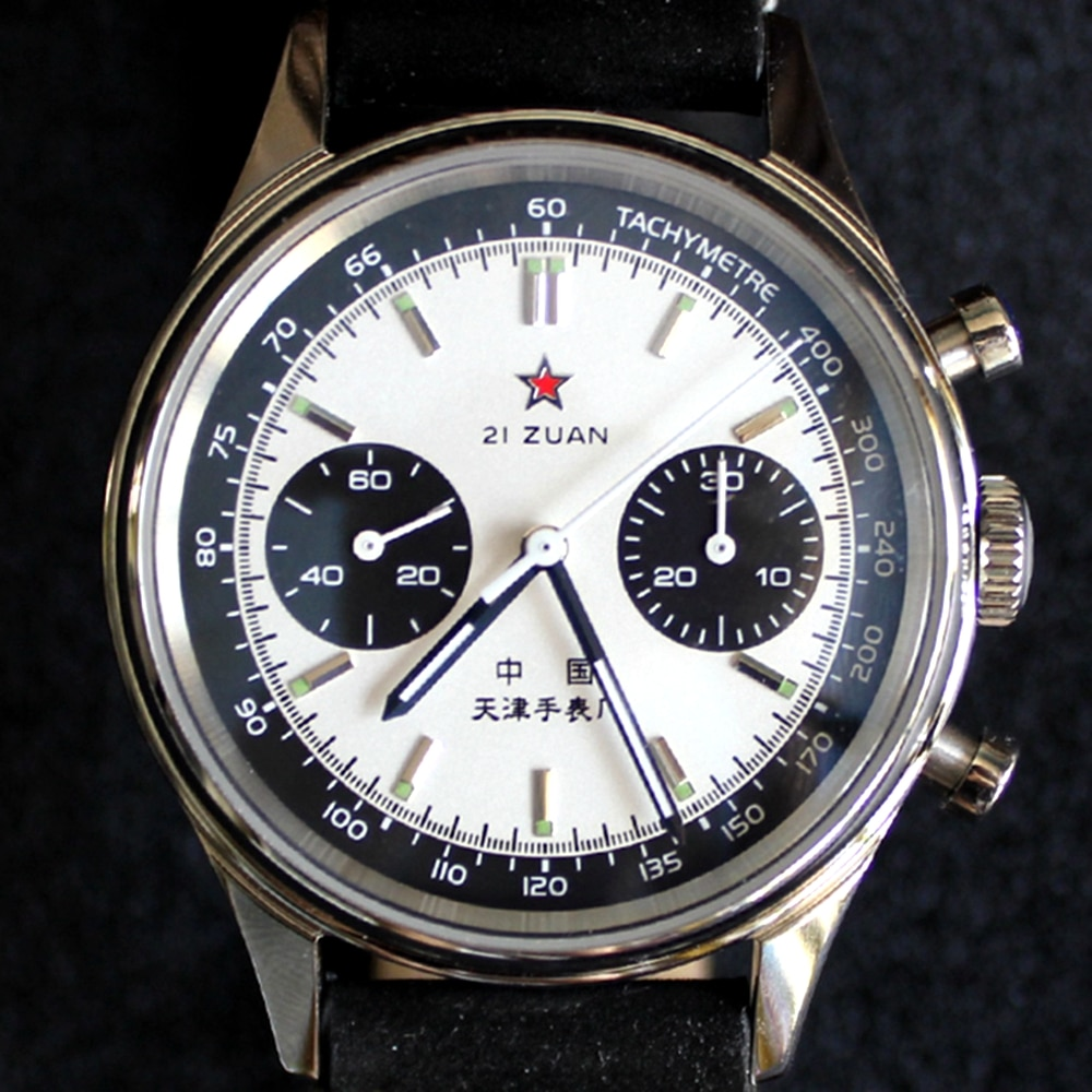 1963 Panda Pilot Chronograph Watch Men 40mm Air Force Sapphire ST1901 Hand Wind Mechanical Wristwatc