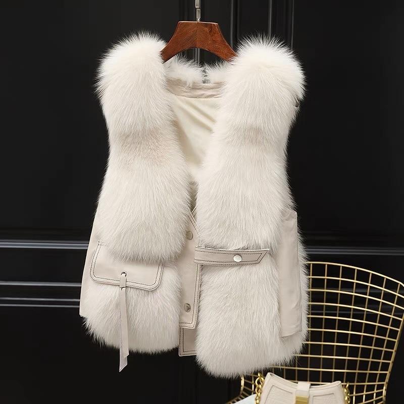 2021 Hot Sale Winter Thin Fur Fox Fur  Fur One Bon Prix Female Korean Casual Vest