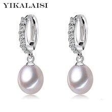 YIKALAISI 925 Sterling Silber Natürliche Süßwasser Perle Schmuck für büro frauen 8-9mm Tropfen Ohrringe Weiß Rosa Lila schwarz