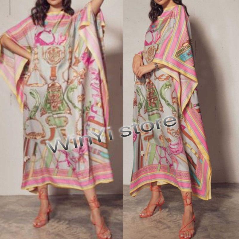 فستان Dashiki أفريقي من الحرير المطبوع ، وشاح بوهيمي ، حجاب ، فضفاض ، أنيق ، مسلم ، عباية ، بازان ، فستان مطرز ، مثير ، حفلة