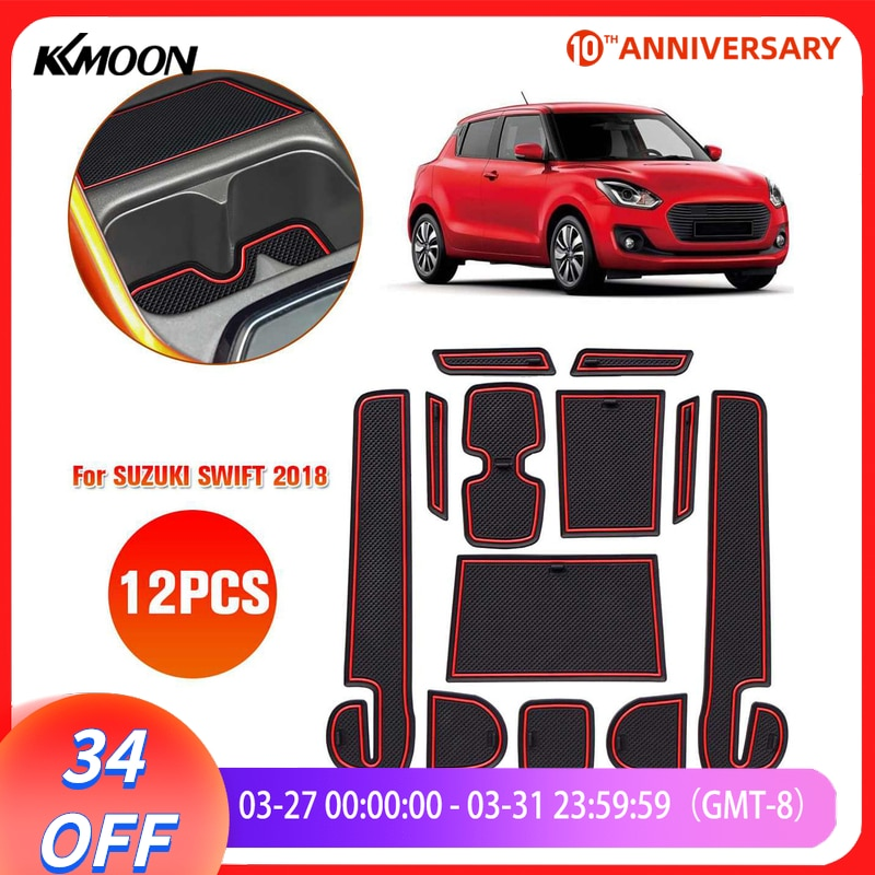 KKMOON 12PCS Car Pad Center Console Mats Anti-dust Non-Slip Interior Door Storage Liner Accessories for SUZUKI SWIFT 2018
