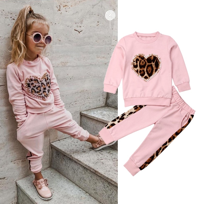 Conjuntos de ropa de Otoño/Invierno para niño, conjunto de ropa rosa de manga larga con estampado de leopardo, equipo de pantalones largos, chándal, ropa de moda para niña
