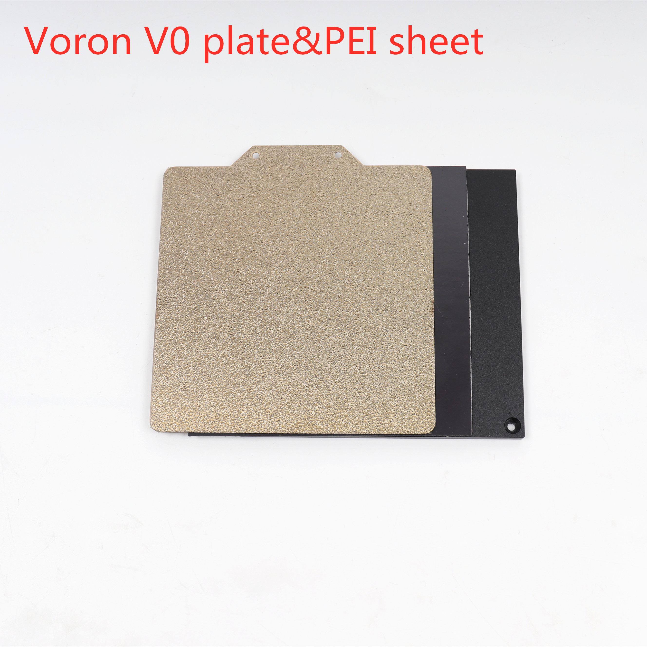 Voron V0 impresora 3d placa de aluminio anodizado y 120x120mm doble cara texturizada/suave hoja de acero PEI Spring