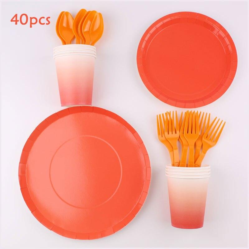 Juego de 8 cubertería desechable con tema naranja para decoración de fiesta de cumpleaños de niños, toallas de papel, platos de cena, Decoración de cumpleaños