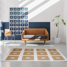 INS tapis de salon tissé à carreaux de couleur populaire   Tapis de chevet géométrique de grande taille et de haute densité, tapis de sol de style nordique
