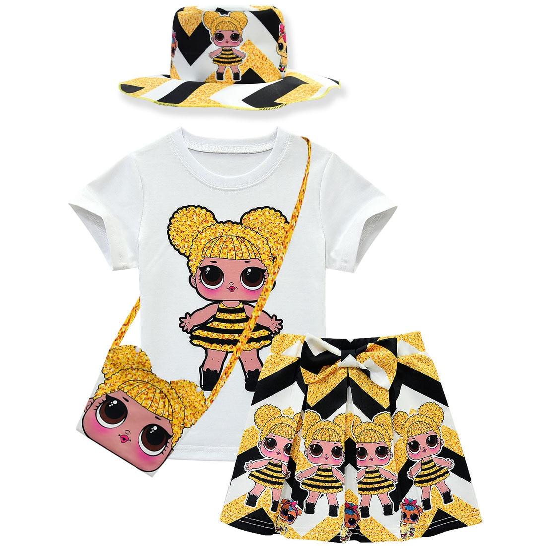 Lol doll surprise original model toys girl T-shirt+Skirt Set Lol dolls Dress Girls Dress kid's Doll Cartoon Princess Girls Dress