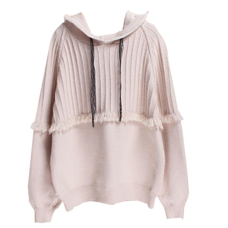 Women Long Sleeves Hooded Knitted Sweater Korean Drawstring Tassel Pullover enlarge