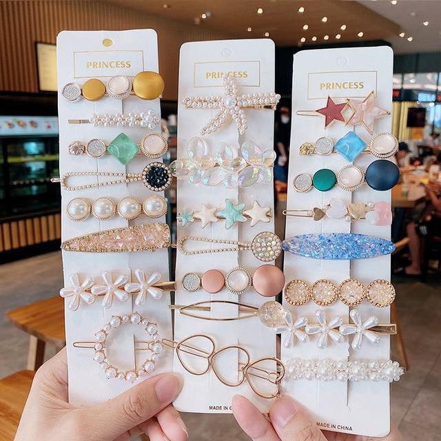 Handmade Pearls Hair Clips Pin For Women Fashion Geometric Flower Barrettes Headwear Girls Sweet Top Clip Crystal Accessorie