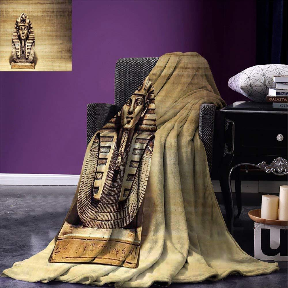 بطانية رمي مصريه حجر فرعون توت عنخ آمون قناع النحت مع خلفية بردية تصميم بطانية الفانيلا الدافئة