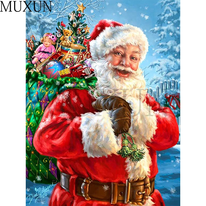 Muxun 3D Diamond Painting Christmas Full Square/Round Rhinestone Pictures Diamond Embroidery People Sale Decoration Home   X0170