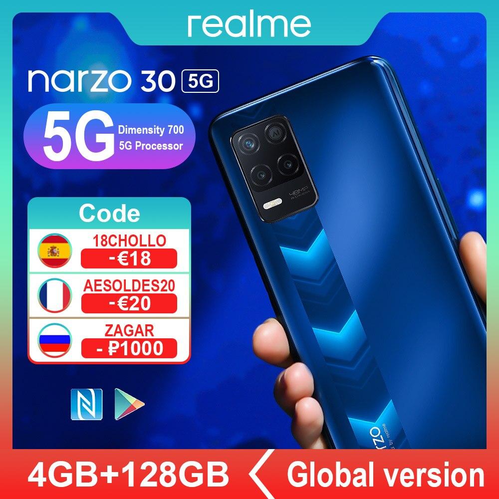 Промо код :【REKAX】【LOVE】【ZAGAR】【COOL】【BEACH】Realme Narzo 30 5G глобальная версия смартфонов NFC 4 Гб 128 6,5 дюйма, разрешение Full Дисплей 5000 мА/ч, 48MP тройной Ка...