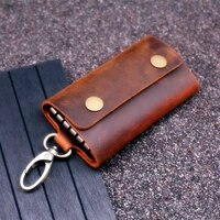 handmade genuine leather key wallet men holder keychain pouch purse zipper designer housekeeper car small key case keys pouch