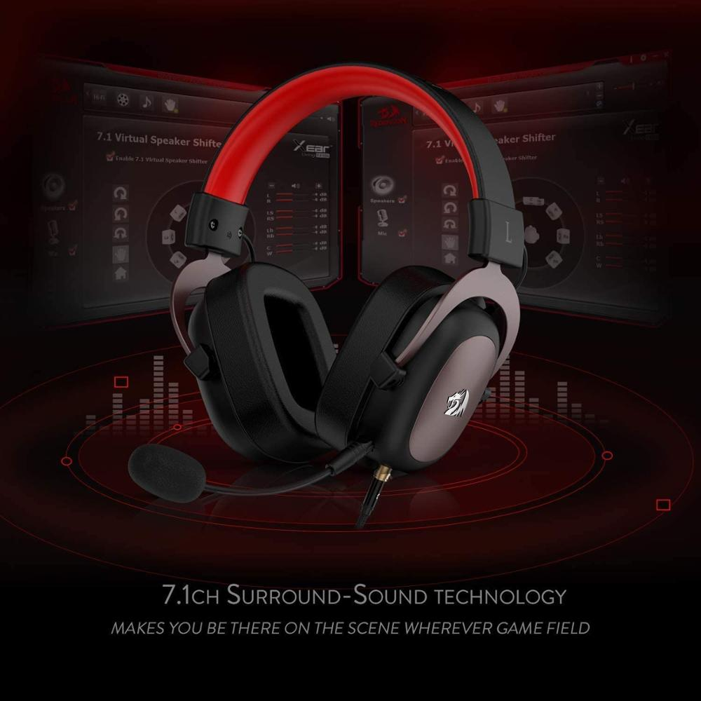 Redragon H510 Zeus wired game headset 7.1 Surround sound memory foam ear pad with removable microphone for PC/PS4 and Xbox One enlarge