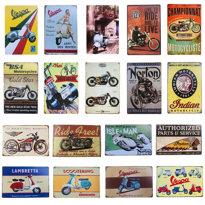 Винтажные Ретро Металлические оловянные знаки Vespa индийский мотоцикл для паба бара кафе гаража железная пластина постер домашний настенный стикер Декор