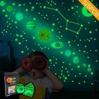 Tofok     autocollant mural Fluorescent pour systeme solaire  neuf planetes  etoiles  lune  chambre a coucher  plafond  armoire  lueur dans la nuit  decor de maison
