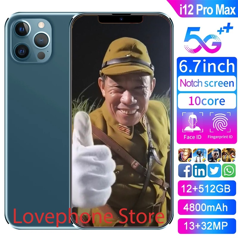 2021 Hot Sale I12 Pro Max 12G 512G Global Version 6.7Inch 10 Core Android10 4800mAh Big Battery Fing