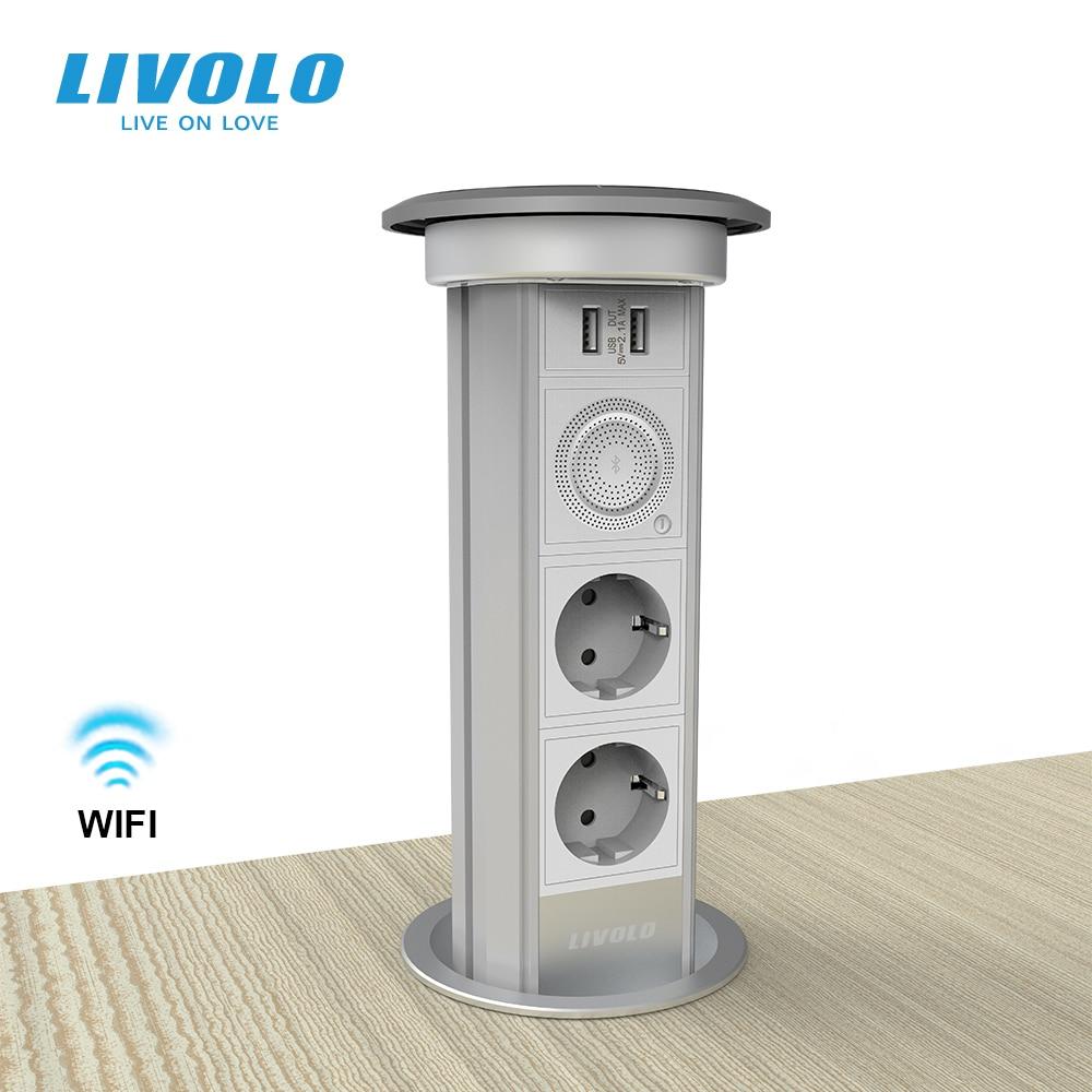 LIVOLO الذكية واي فاي قابل للسحب مقبس منبثقة ، تهمة لاسلكية ، منفذ USB ، IP44 التلقائي رفع حماية المخرج Strob تحذير الضوء
