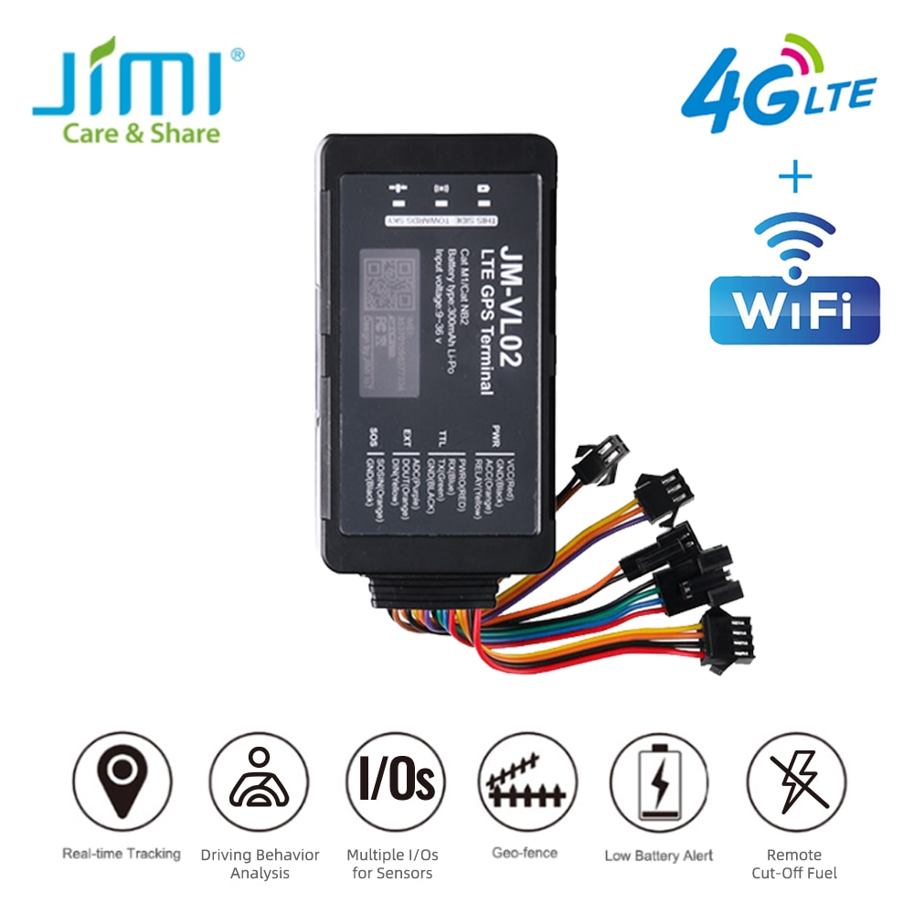 JIMI 4G LTE GPS Tracker JM-VL02 Multiple Input Outpus Driving Behavior Vehicle Locator With Oil Cut-Off  by APP Anti-thieft