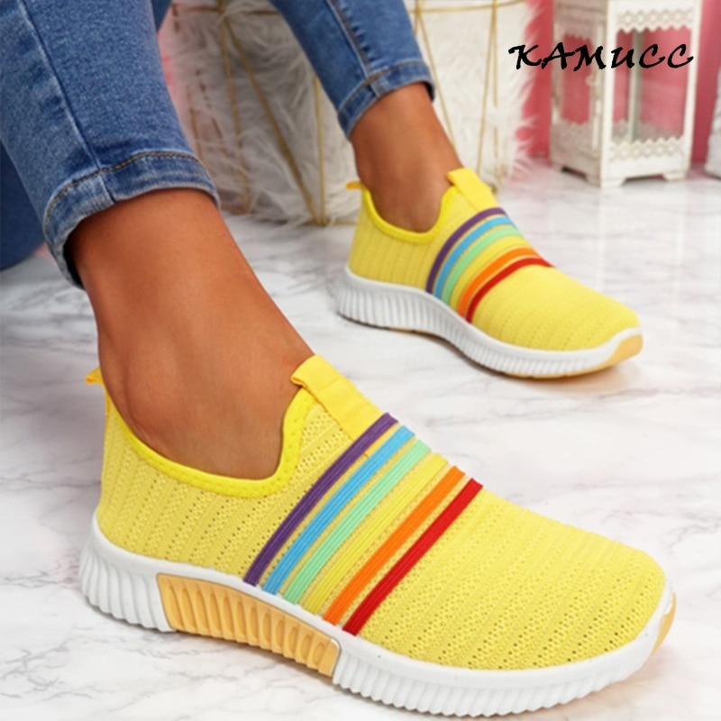 2020 New Fashion Women Sneakers Rainbow Color Handmade Mesh Vulcanize Leisure Shoes Low-top Summer Casual Ladies Shoes Girl Plus