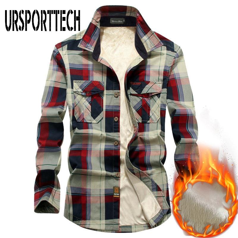 Рубашка мужская флисовая с подкладкой, брендовая Повседневная теплая рубашка из 100% хлопка с длинными рукавами, уличная одежда, осень-зима