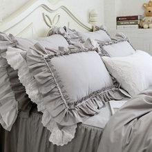 2pcs pillow case European luxury big ruffle pillow cover handmade lace pillow cases embroidery pillow sham grey bedding textile