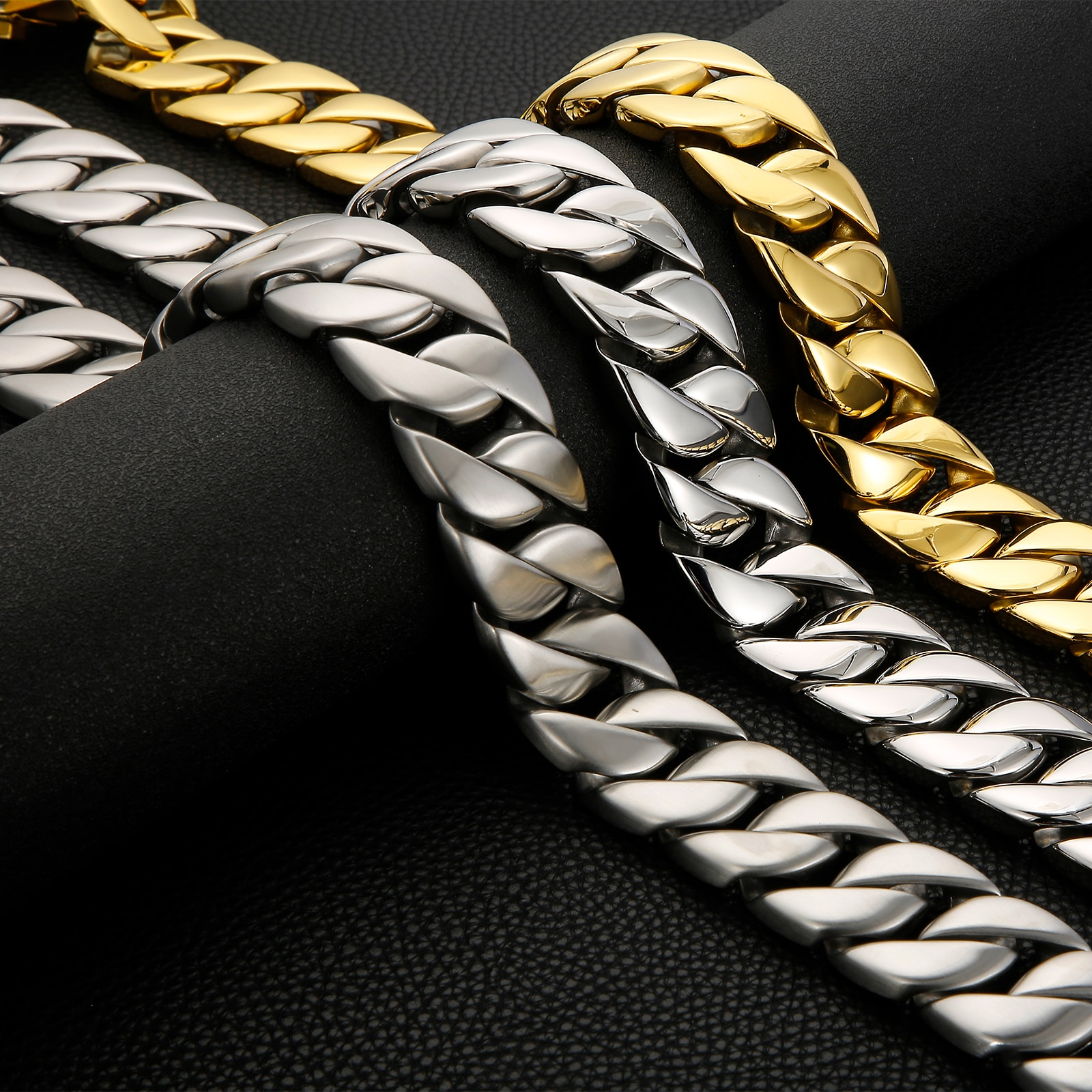 31mm Male Necklaces Cuba Heavy Link Chain Necklace HipHop Thick Gold Curb Chain For Men Polished Stainless Steel Jewelry