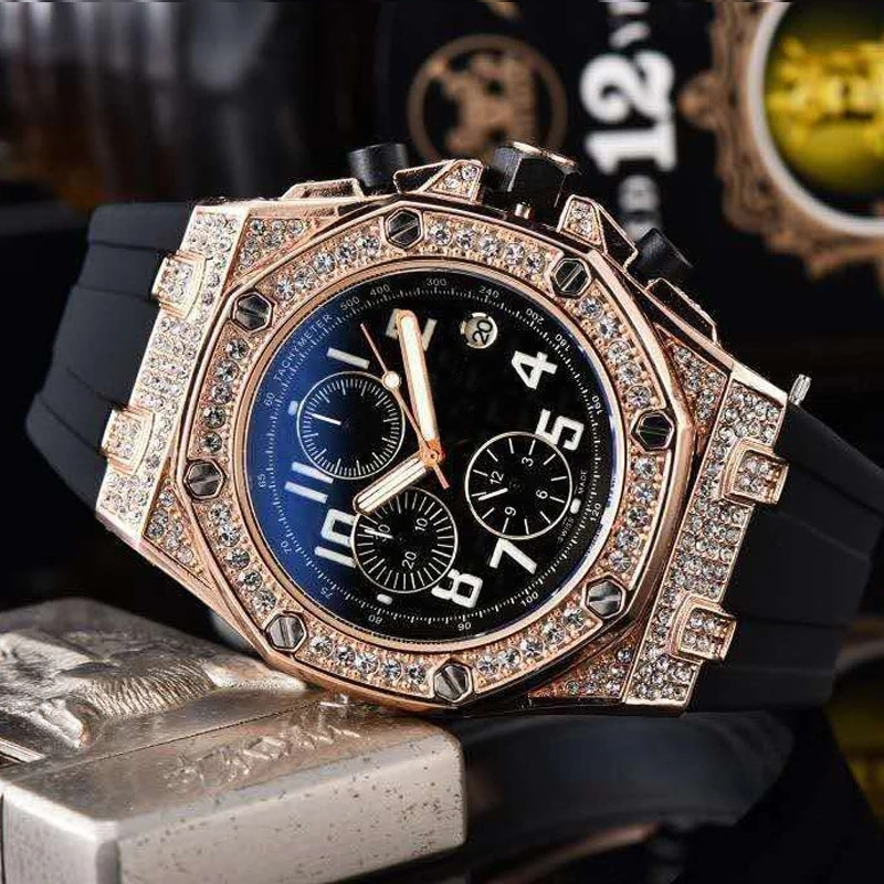 Top Brand Luxury Male Quartz Sports Six-Hand Diamond Men's Watches Silicone Business Creative Dress