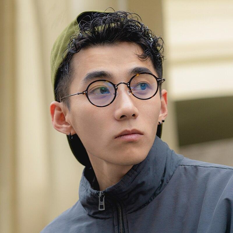خفيفة التيتانيوم خلات النظارات المستديرة الكورية خمر وصفة طبية النظارات النساء قصر النظر النظارات البصرية الإطار الرجال Oculos