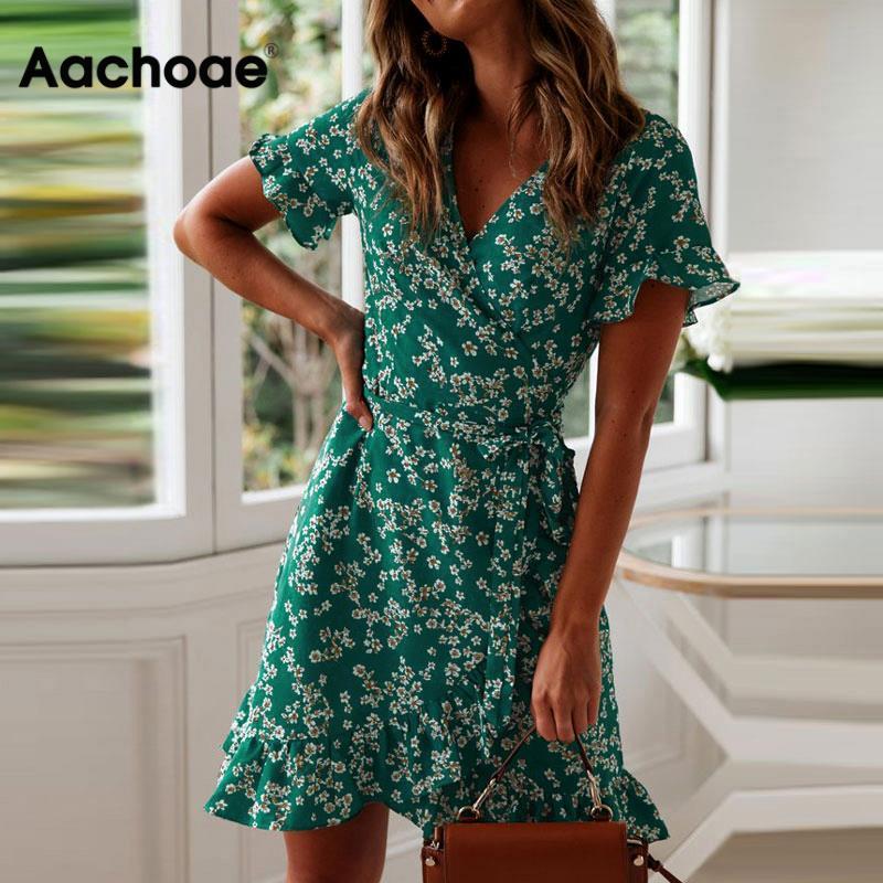 Aachoae Women Dresses Summer 2021 Sexy V Neck Floral Print Boho Beach Dress Ruffle Short Sleeve A Line Mini Dress Sundress Robe