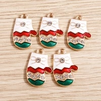 10pcs 1320mm enamel crystal christmas gloves charms for jewelry making fashion earrings pendants necklaces keychain diy crafts