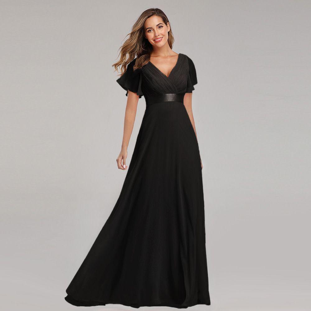 2021 New Spring Summer Hand Folded Chiffon Elastic Banquet Bridesmaid Evening Sexy Dress Vestido Oodji Vfemage V-Neck And Skirt