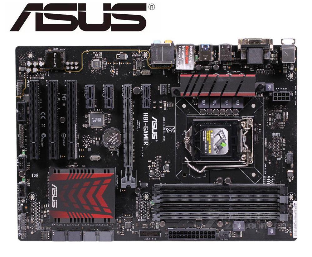 ASUS H81-GAMER original motherboard  DDR3 LGA 1150 16GB USB2.0 USB3.0 H81 used Desktop motherboard mainboard boards