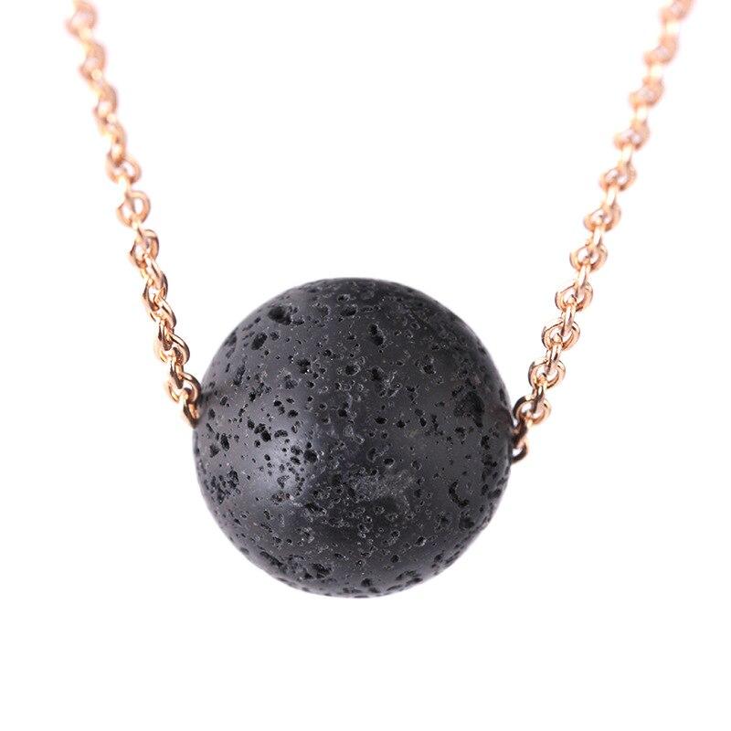 12 unids/lote de collar de piedra volcánica de Lava Natural, collar de cadena con colgante de piedra triangular Vintage