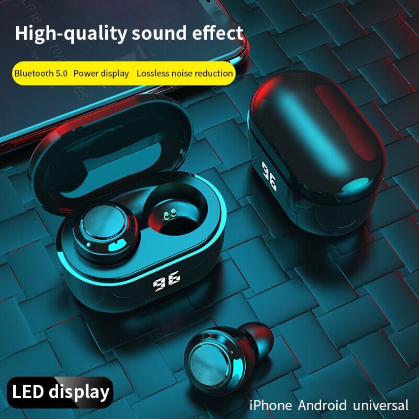 Fones de Ouvido Controle sem Fio Esportes à Prova Botão Bluetooth Display Led Dheadset Água Fone 2021 Tws 5.0