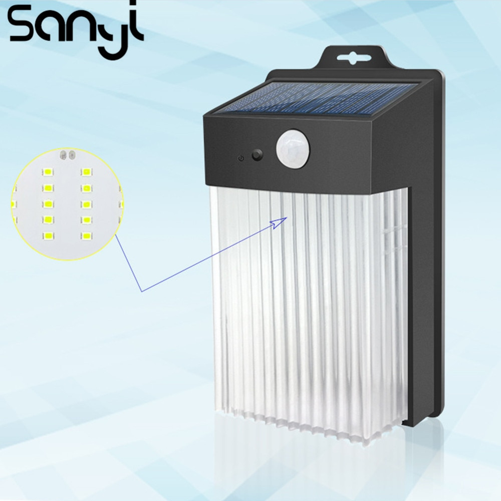 Solar Wall Lamp 120 Degrees Angle Waterproof Wall Lamp 3 Lighting Modes Modern Lighting for Garden/Yard Garden Street light