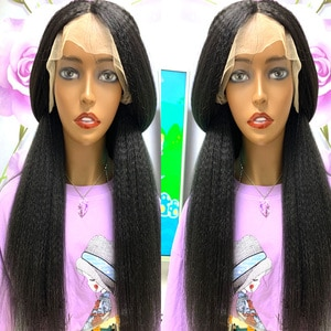 180 Density 26 Inch Kinky Straight Lace Front Synthetic Hair Wigs Pre Plucked Deep Lace Frontal Yaki Straight Wig For Women